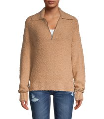 saks fifth avenue women's front zip placket sweater - classic camel - size xl