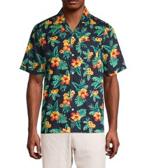 original penguin men's floral short-sleeve shirt - dark sapphire - size xl