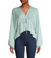free people women's elouise self-tie blouse - sage - size m