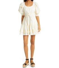 women's ulla johnson naomi cotton babydoll dress, size 00 - ivory