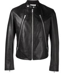 maison margiela decorative zip biker jacket - black