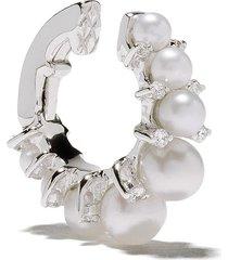 annoushka 18kt white gold diamonds & pearls ear cuff - 18ct white gold