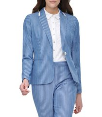 tommy hilfiger women's stripe one-button jacket - french blue - size 4