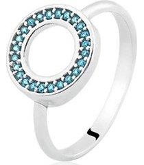 anel de prata zircônia redondo azul life - feminino