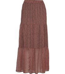 kaella maxi skirt knälång kjol rosa kaffe