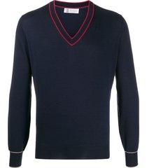 brunello cucinelli regular-fit v-neck pullover - blue