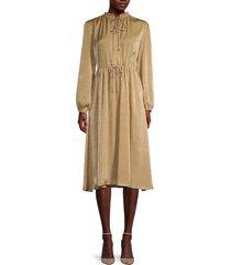 t tahari women's crewneck tie midi dress - camel - size m