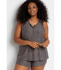 maurices plus size womens 24/7 gray henley tank top