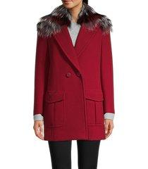 fendi women's fox fur-collar wool coat - pompei - size 42 (8)