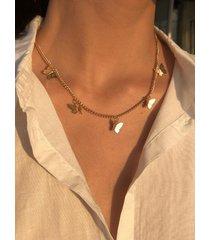collar de una sola capa de mariposa geométrica con borlas