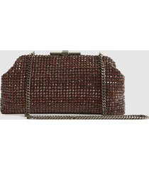 reiss adaline - embellished clutch in claret, womens