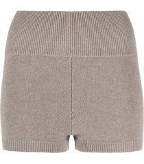ami amalia merino-knit high-waisted shorts - neutrals