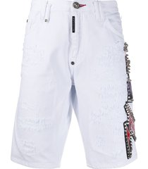 philipp plein mid rise denim bermuda shorts - white