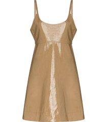ganni patent-leather mini dress - brown