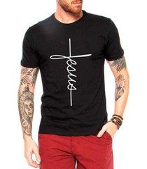 camiseta criativa urbana masculina jesus cruz camisa gospel religiosa evangélica - masculino