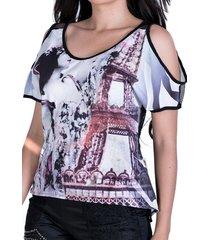 blusa zigma ombro aberto preto/estampada