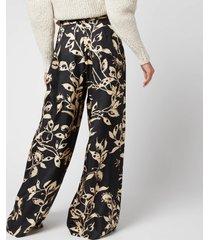 zimmermann women's ladybeetle wide leg pants - black eye print - 0/uk8