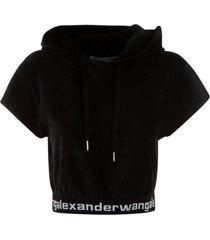 t by alexander wang stretch corduroy cap sleeve hoodie