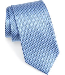 men's nordstrom men's shop grid silk tie, size regular - blue