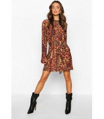 animal print belted shift dress, brown