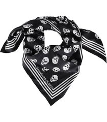 black and white silk skull scarf