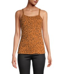 three dots women's leopard-print camisole top - washed leopard - size xl