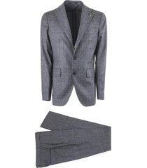 tagliatore check design grey virgin wool two piece suit