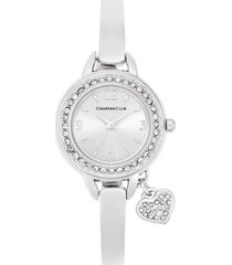 charter club women's heart charm bangle bracelet watch 26mm, created for macy's