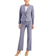 le suit petite cross-dye shadow stripe pantsuit