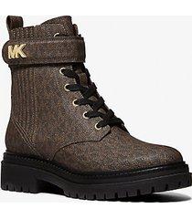 mk stivale combat stark con logo - marrone (marrone) - michael kors