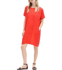 women's eileen fisher short sleeve organic linen dress, size x-small - orange