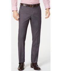 perry ellis men's portfolio slim-fit stretch gray solid suit pants