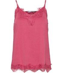 cc heart lace top t-shirts & tops sleeveless röd coster copenhagen