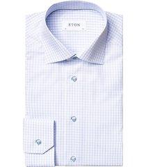 eton men's contemporary-fit checked dress shirt - blue - size 17