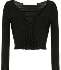 dion lee open knit detail top - black