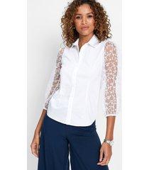 blouse met transparante mouwen
