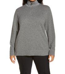 lafayette 148 new york half zip wool & cashmere sweater, size 2x in nickel melange at nordstrom