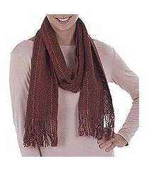 pima cotton scarf, 'daring brown' (peru)