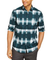 alfani men's boris plaid cotton shirt, created for macy's