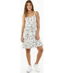 vestido de mujer, silueta amplia de diseño corto, cuello redondo de tiras, con estampado floral