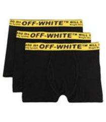 off-white kit 3 cuecas boxer com logo - preto