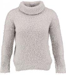 broadway korte grijze polyester fluffy koltrui 3/4 mouw