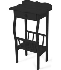 mesa lateral apoio sala revisteiro preto - preto - dafiti