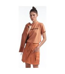 saia transpasse like leather laranja bronza - 42