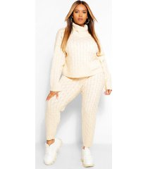 plus cable knitted sweater and jogger lounge set, stone