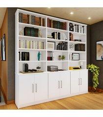 estante para livros 6 portas 15 prateleiras branco 1287 - foscarini
