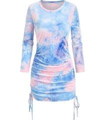 long sleeve tie dye print cinched sheath dress