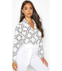 chain print shirt, white