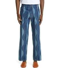 men's ahluwalia low rise straight ankle jeans, size x-large - blue (nordstrom exclusive)