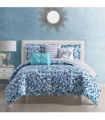 juicy couture malibu beach floral comforter set 6 piece, queen bedding